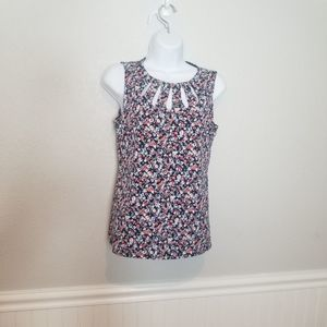 WHBM Blue Floral Sleeveless Cut Out Blouse Sz Sm
